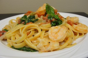 Lemon Basil Shrimp Fettuccine