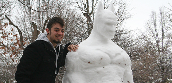 Campus hero: Meet the student artist behind Snowman Batman