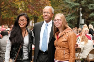 President Bowman with students