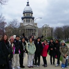 The students visit Springfield and the Capitol building.