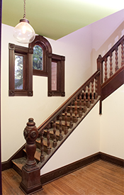 The banister and stairs at the entryway of the DeGarmo home.