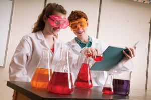 Students with lab equipment
