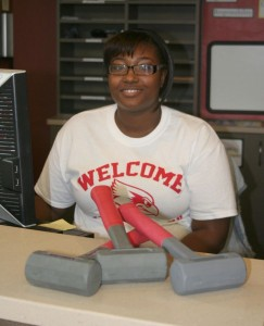 Student with rubber mallets