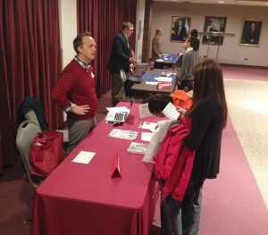 Students talk to law school reps