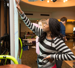 Students and teachers from Thomas Metcalf School demonstrate authentic learning sessions with an array of different technologies in the Circus Room, BSC.