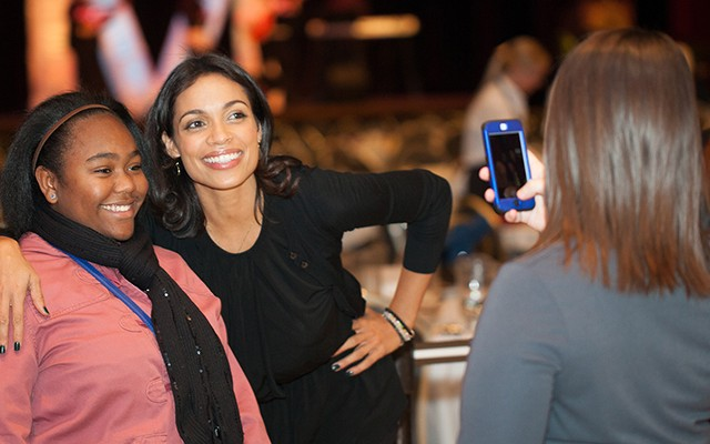 Actress Rosario Dawson speaks at Latino Cultural Dinner