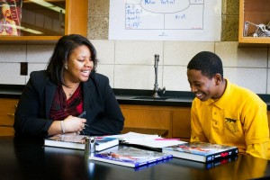 Donna Henry talks to a student