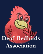 Reggie Redbird making the American SIgn Language symbol for love