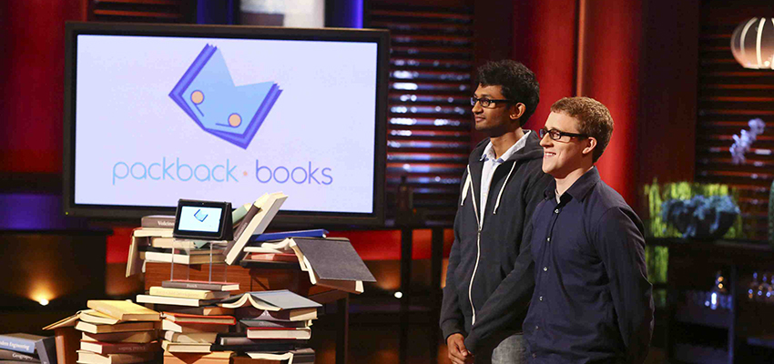 """Illinois State alumni Kasey Gandham, left, and Mike Shannon on ABC's """"Shark Tank."""" (ABC/Michael Ansell)"""