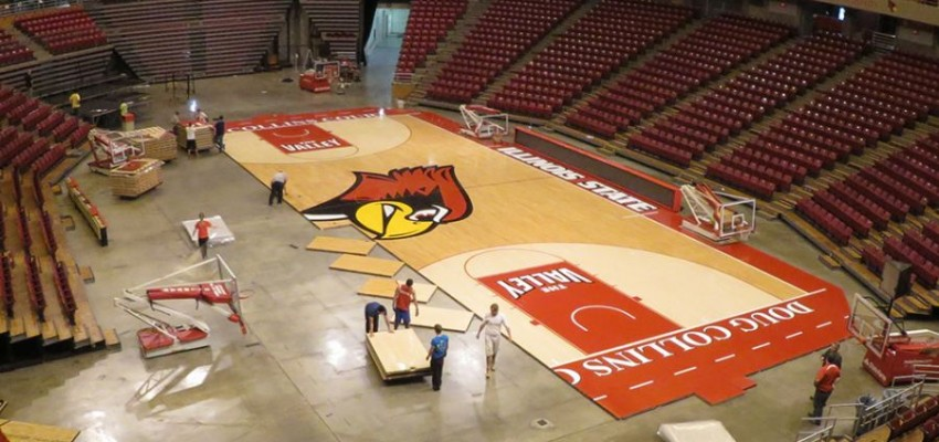 Time-lapse video: Full court press at Redbird Arena