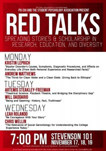 Flyer for PSI CHI SPA Red Talks 2014