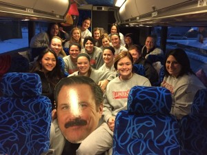 Redbird softball team on their bus
