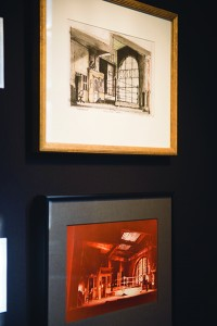 Framed drawings of two of Eigsti's set designs