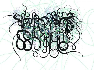 Swirling graphic lines in black, blue, and green