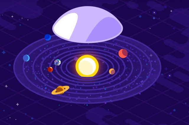 animated image of the solar system with a Dyson Sphere