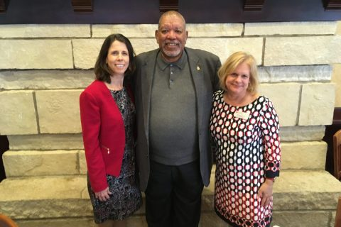 From left: Mennonite College of Nursing Dean Judy Neubrander, Illinois State University donor and PROUD student mentor Terrence Tapley, and Mennonite College of Nursing Director of Development Jennifer Sedbrook