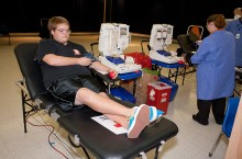 Student at Homecoming blood drive