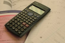 Calculator and math textbook