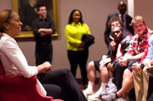 Sanya Richards-Ross talks to ISU student-athletes