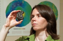 Tasha Dunn with meteorite piece