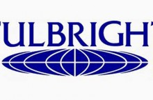 The logo of the Fulbright Awards with the word Fulbright in all caps over a globe.
