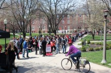 Students line up on the Quad