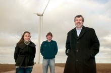 Students under wind turbine