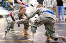 Military alum fights on a mat