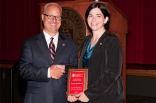College of Education Dean Perry Schoon (left) with Outstanding Teacher of the Year Award recipient Amanda Quesenberry