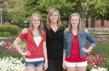 Shelly Braxton and her daughters on the Quad