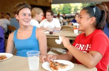 Teacher education majors enjoy pizza, conversation at learning about how to get involved at the annual College of Education Back to School Party.