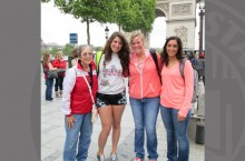 Four Illinois State University students participated this summer in an educational trip to France: Nancy Adams (left), Katrina Schreiner, Melanie Krawczyk, and Melissa Nicole Dickey.
