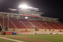 Hancock Stadium at night