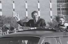 Ronald and Nancy Reagan in the Homecoming parade