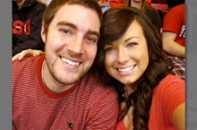 Nichole Meisenheimer and Michael Stratton at a basketball game