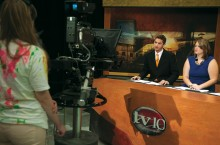 Students in the TV10 studio