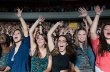 Students at the Timeflies concert
