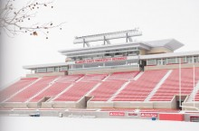 Hancock Stadium in snow