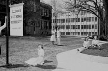 Students on the Illinois State Normal University Quad in 1959