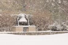 Snowy bell on the Quad