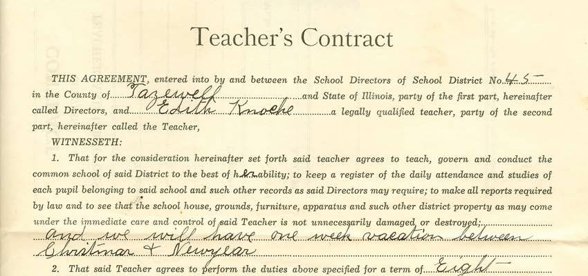 Teacher Agreement Contract | Rules For One Room Schoolhouse Teachers News Illinois State