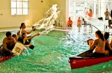 Students play water Battleship