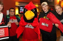 Reggie Redbird with T-shirt