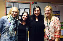 Illinois State University graduates teaching at the Kendall County Special Education Cooperative's Southbury Elementary School in Oswego, IL. (From left) Julie Tantillo '10, Haley Moroni '12, Colleen Meismer '07, and Maddi Euhus '13.