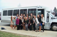 Nursing students by bus