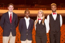 Braden Auditorium ushers in their new uniforms