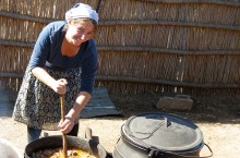 Lauren Karplus at work in a village