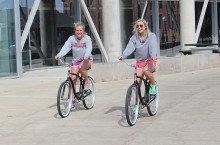 Students ride bikes