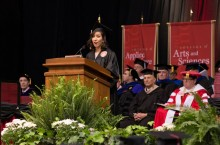 Yesenia Rodriguez speaks during the College of Arts and Sciences spring commencement