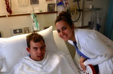 Jimmy and Jennifer in a hospital room